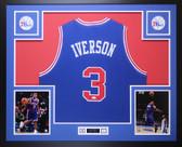 Allen Iverson Autographed and Framed Blue Philadelphia 76ers Jersey Auto JSA COA