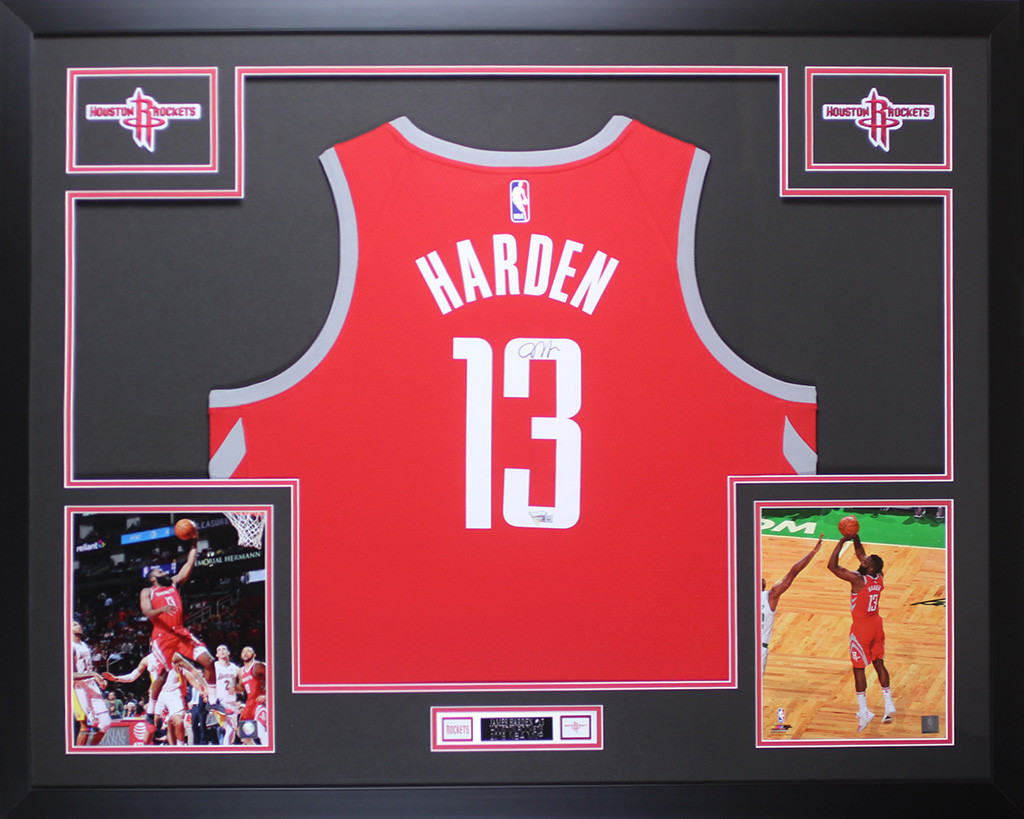 43db6edab James Harden Autographed and Framed Red Houston Rockets Jersey