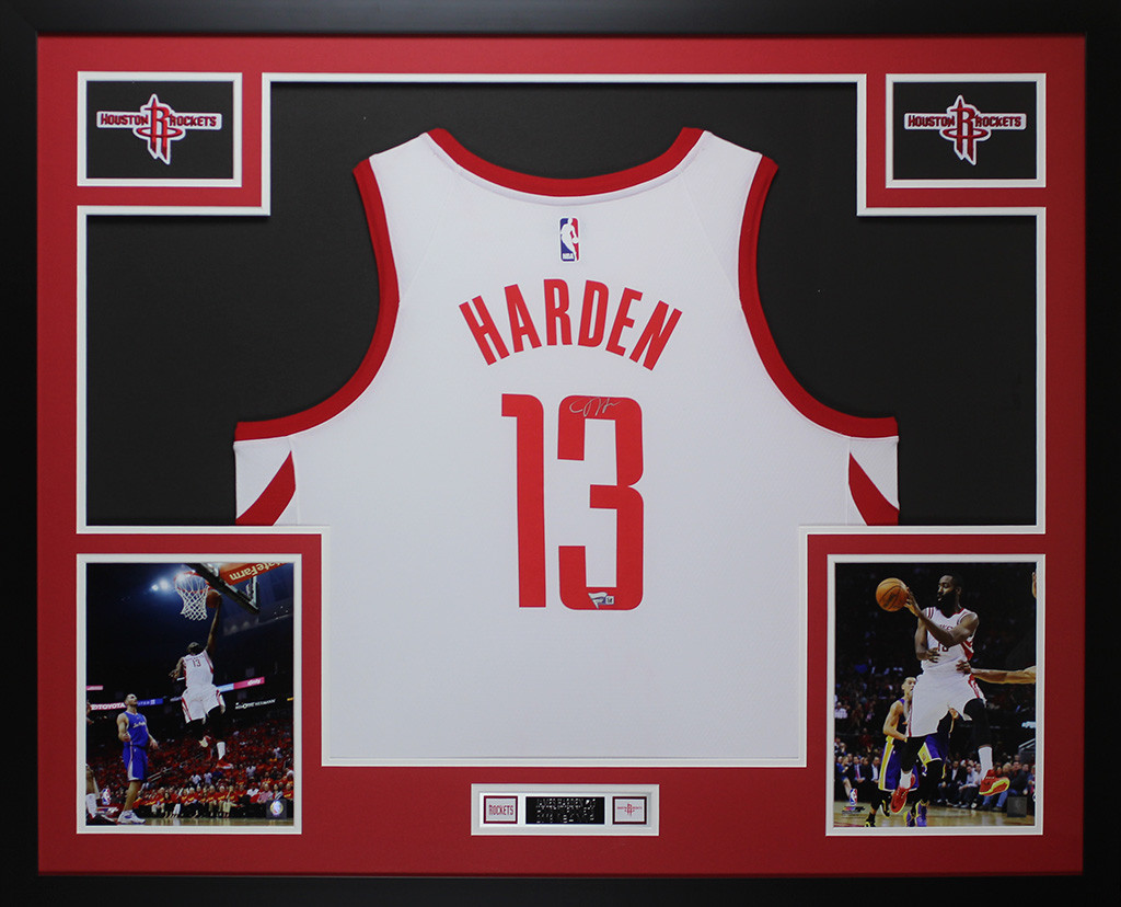 c853cdcb4 James Harden Autographed and Framed White Houston Rockets Jersey