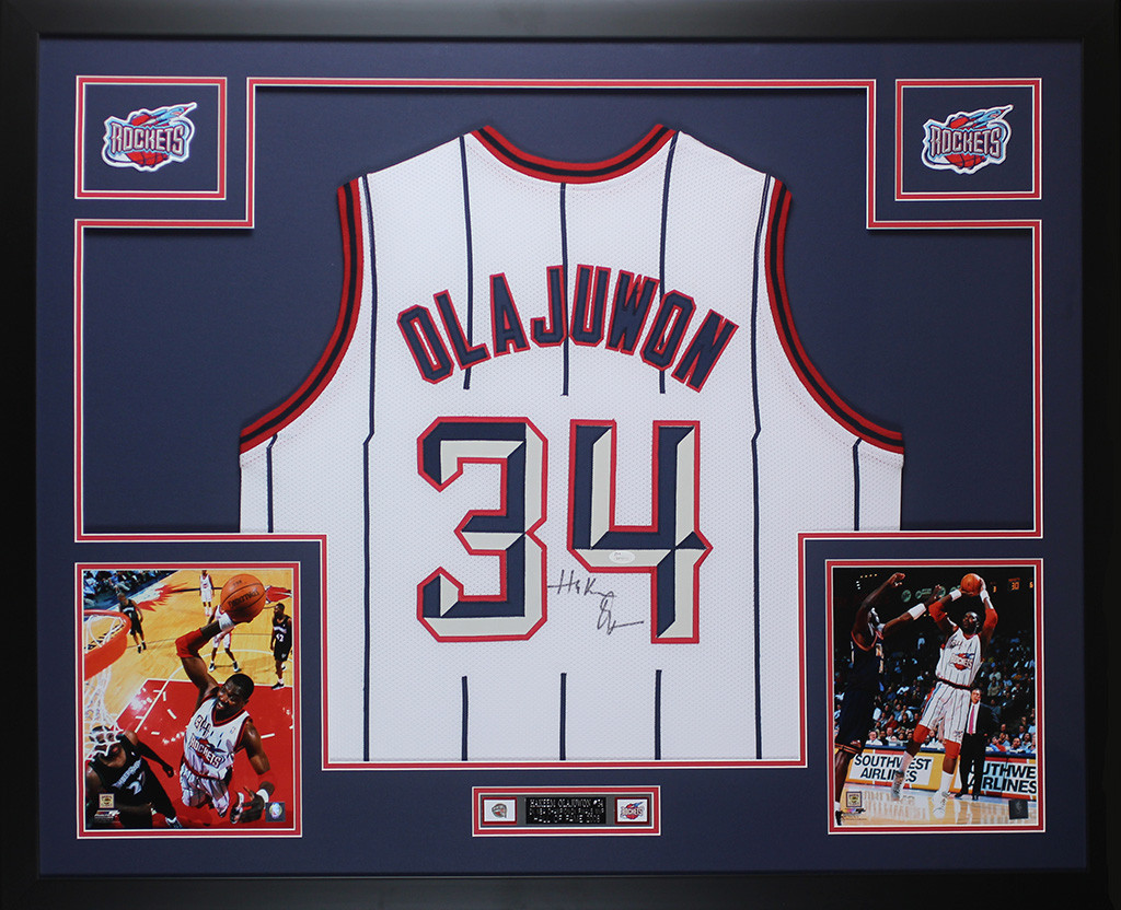brand new 7ff74 8919b Hakeem Olajuwon Autographed and Framed White Pinstriped ...