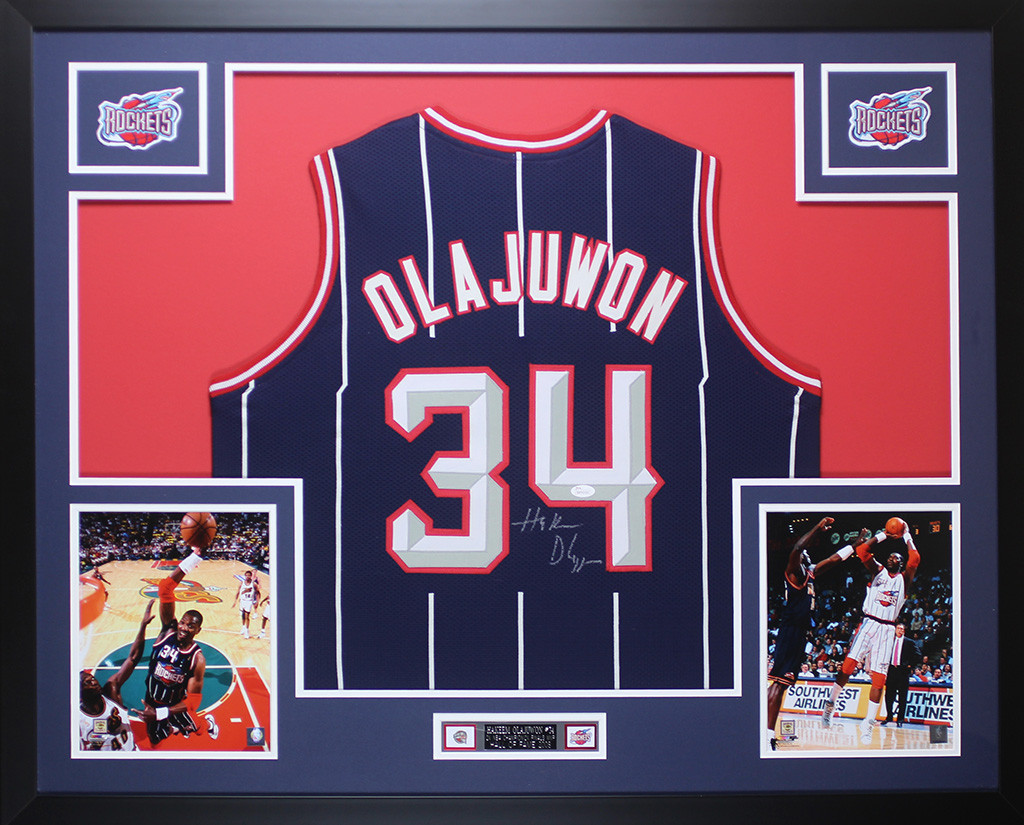 b910b7a3383 Hakeem Olajuwon Autographed   Framed Navy Pinstriped Houston Rockets Auto  JSA COA. Loading zoom