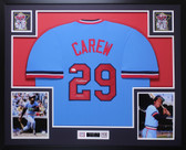 Rod Carew Autographed HOF 91 & Framed Blue Minnesota Twins Jersey Auto JSA COA