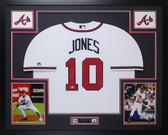Chipper Jones Autographed & Framed White Atlanta Braves Jersey Auto Beckett COA