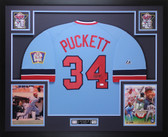 Kirby Puckett Autographed & Framed Blue Minnesota Twins Jersey Auto JSA COA