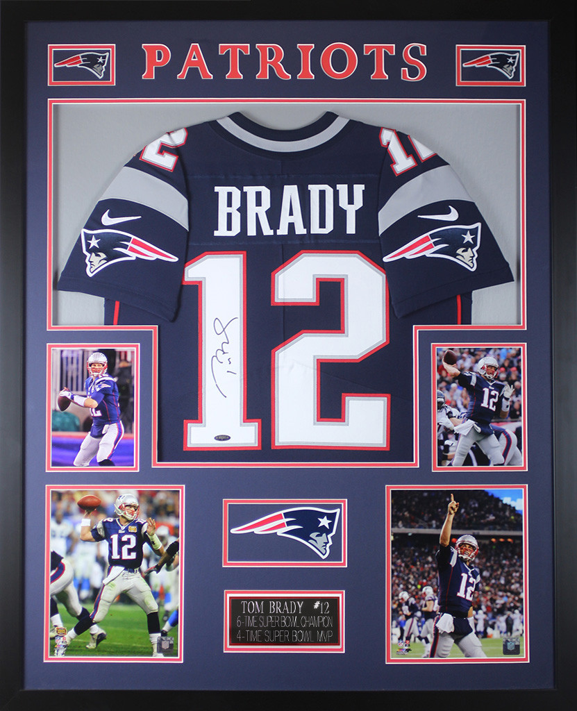 Tom Brady Autographed and Framed Navy New England Patriots Jersey