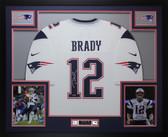 Tom Brady Autographed & Framed White New England Patriots Jersey Auto Tristar COA