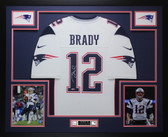 Tom Brady Autographed & Framed White New England Patriots Jersey Auto Tristar Certification