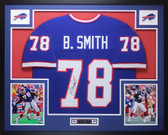 Bruce Smith Autographed & Framed Blue Buffalo Bills Jersey Auto JSA COA