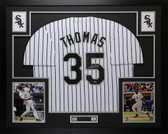 Frank Thomas Autographed & Framed White Chicago White Sox Jersey Auto LEAF COA