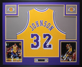 Magic Johnson Autographed & Framed Yellow Lakers Jersey JSA COA D10-L
