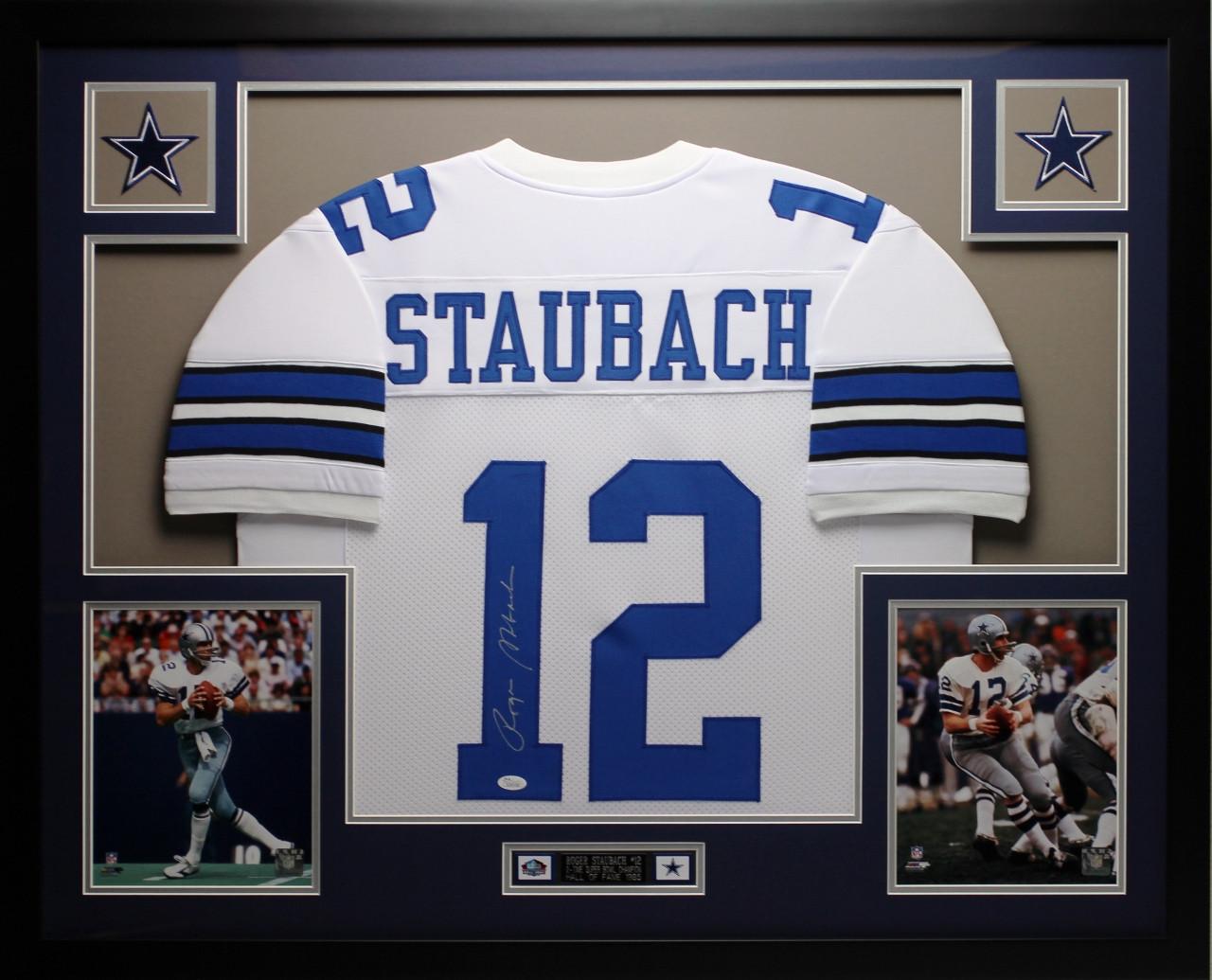 57453194e72 Roger Staubach Autographed and Framed White Dallas Cowboys Jersey Auto JSA  COA. Loading zoom