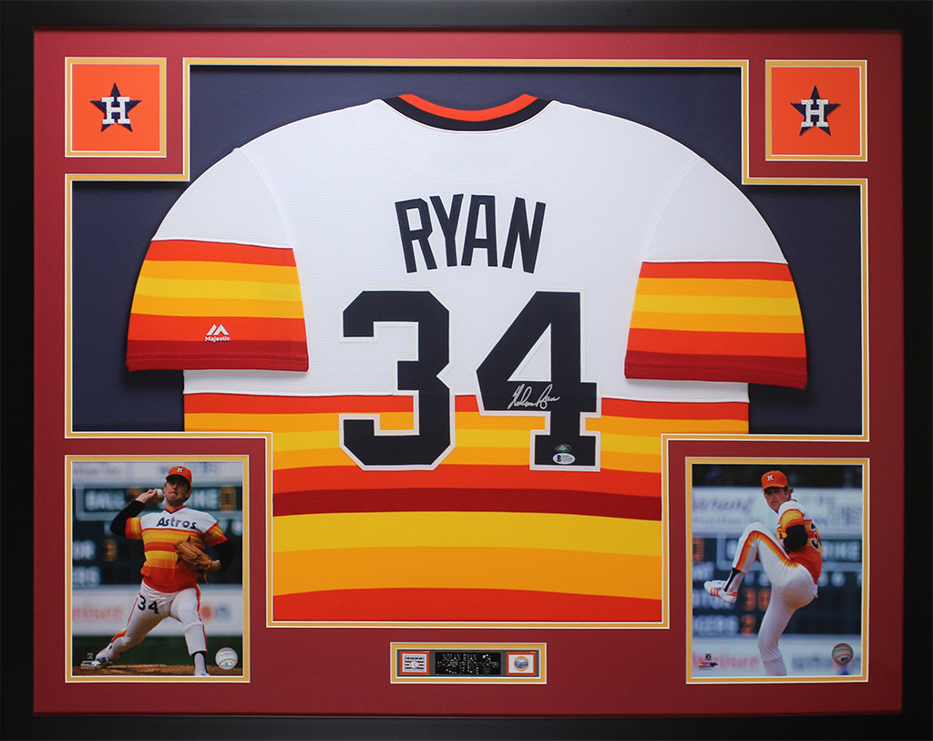 the best attitude 4bfc3 31b26 Nolan Ryan Autographed and Framed Rainbow Sleeves Jersey