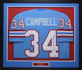 Earl Campbell Autographed HOF 91 & Framed Blue Houston Oilers Jersey Auto GTSM COA