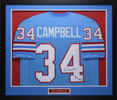 Earl Campbell Autographed HOF 91 and Framed Blue Houston Oilers Jersey Auto GTSM COA