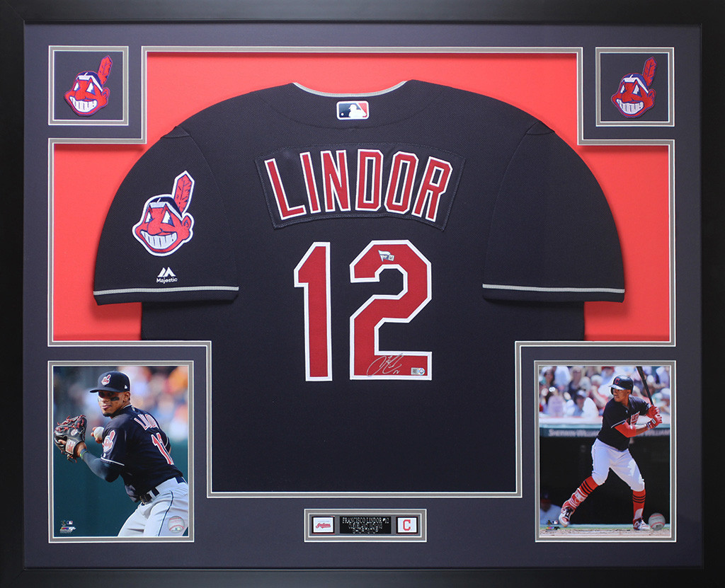 new arrival 73cbb a5beb Francisco Lindor Autographed and Framed Blue Cleveland ...
