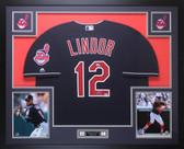 Francisco Lindor Autographed & Framed Blue Cleveland Indians Jersey Auto Fanatics COA
