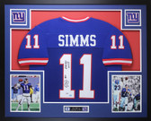 Phil Simms Autographed & Framed Blue New York Giants Jersey Auto PSA COA