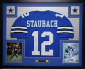 Roger Staubach Autographed and Framed Blue Dallas Cowboys Jersey Auto JSA COA