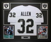 Marcus Allen Autographed & Framed White Raiders Jersey Auto Beckett COA
