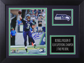 Russell Wilson Autographed & Framed 8x10 Seahawks Photo Auto Wilson COA Design-8A