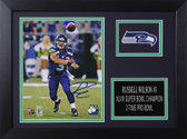 Russell Wilson Autographed & Framed 8x10 Seahawks Photo Auto Wilson COA Design-8A (Passing)