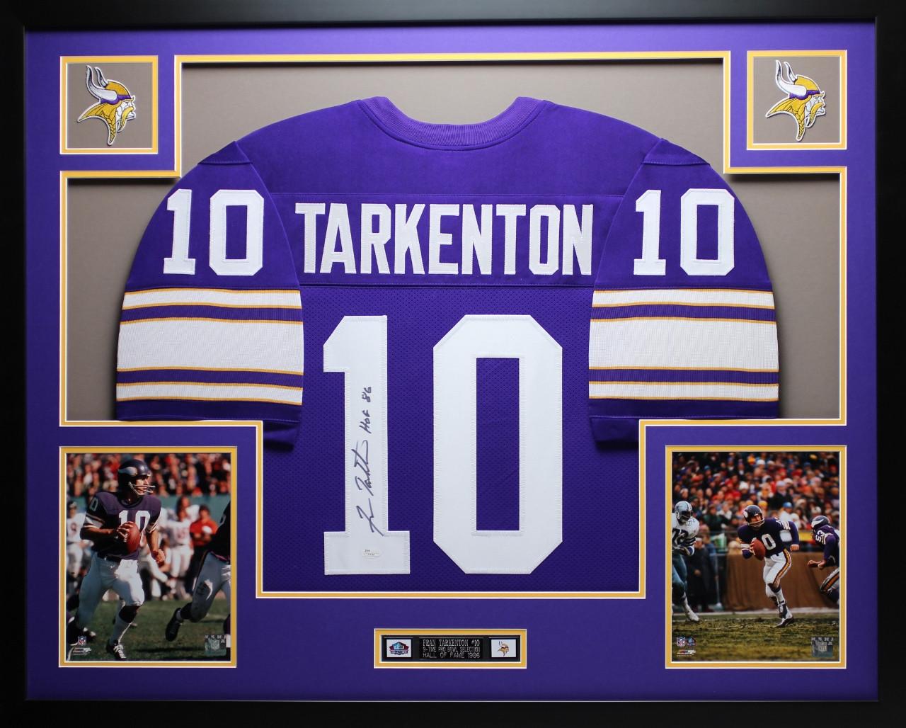 premium selection 9ea42 c8e96 Fran Tarkenton Autographed HOF 86 and Framed Purple Vikings ...