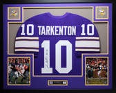 Fran Tarkenton Autographed HOF 86 and Framed Purple Minnesota Vikings Jersey Auto JSA COA
