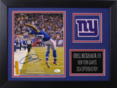 Odell Beckahm Autographed & Framed 8x10 Giants Photo Auto JSA COA Design-8A