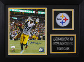 Antonio Brown Autographed & Framed 8x10 Steelers Photo Auto JSA COA Design-8A