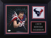 JJ Watt Autographed & Framed 8x10 Texans Photo Auto JSA COA Design-8A