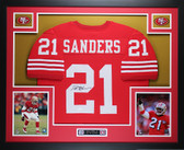 Deion Sanders Autographed and Framed Red San Francisco 49ers Jersey Auto JSA COA