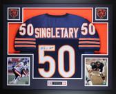 Mike Singletary Autographed HOF 98 and Framed Blue Chicago Bears Jersey Auto JSA COA