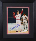Pete Rose Autographed & Framed 8x10 Reds Photo Auto JSA COA Design-8E