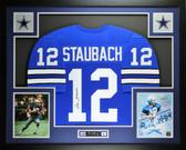 Roger Staubach Autographed & Framed Blue Dallas Cowboys Jersey Auto JSA COA