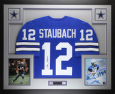 Roger Staubach Autographed & Framed Blue Dallas Cowboys Jersey Auto JSA Certified
