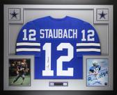 Roger Staubach Autographed & Framed Blue Dallas Cowboys Jersey Auto JSA Certified