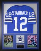 Roger Staubach Autographed & Framed Blue Cowboys Jersey Auto JSA COA