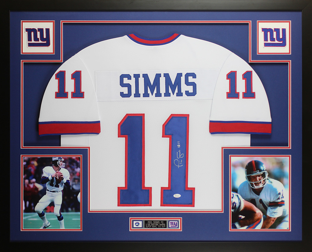 Phil Simms Autographed and Framed White New York Giants Jersey