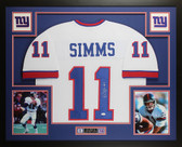 Phil Simms Autographed and Framed White New York New York Giants Jersey JSA COA