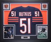 Dick Butkus Autographed and Framed Blue Chicago Bears Jersey JSA COA