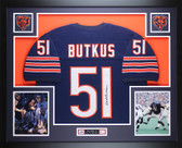 Dick Butkus Autographed and Framed Blue Chicago Chicago Bears Jersey JSA COA