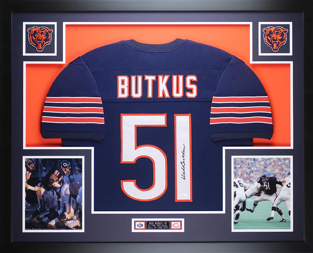 Dick Butkus Signed Autographed Chicago Bears Blue Football Jersey JSA COA