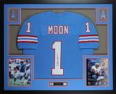 Warren Moon Autographed & Framed Blue Houston Houston Oilers Jersey JSA COA