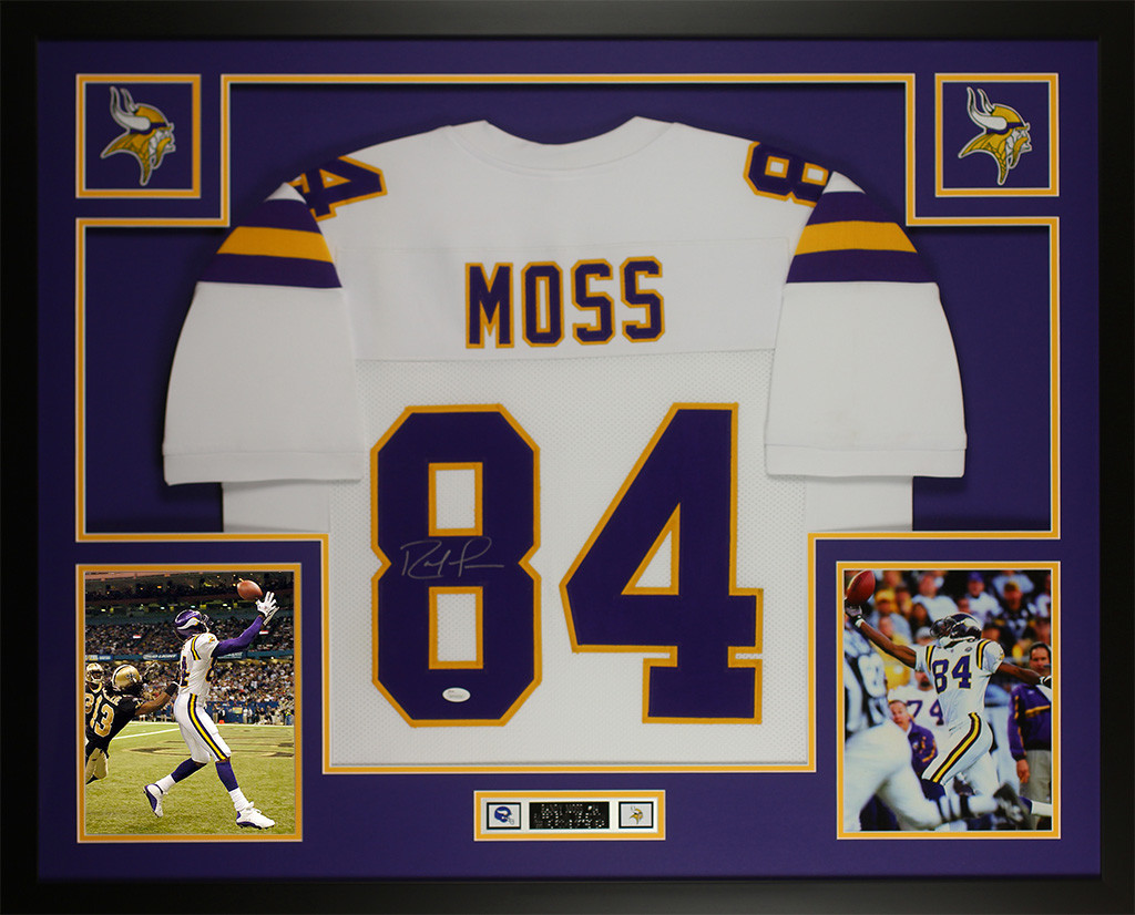 san francisco fdb8f 820cc Randy Moss Autographed and Framed White Vikings Jersey
