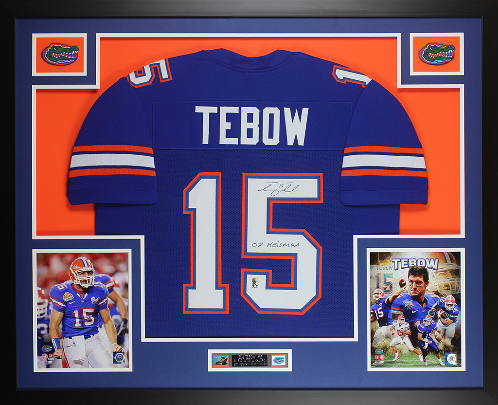 Tim Tebow Autographed and Framed Blue Florida Gators Jersey