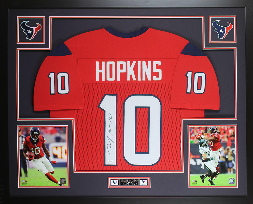 DeAndre Hopkins Autographed and Framed Red Texans Jersey