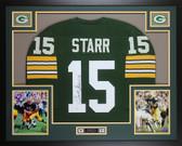 Bart Starr Autographed & Framed Green Packers Jersey JSA COA D4-L
