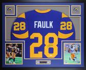 Marshall Faulk Autographed & Framed Blue St. Louis Rams Jersey JSA COA