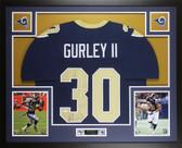 Todd Gurley Autographed & Framed Blue Los Angeles Rams Jersey JSA COA