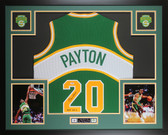 Gary Payton Autographed & Framed Green Seattle Super Sonics Jersey Auto PSA COA